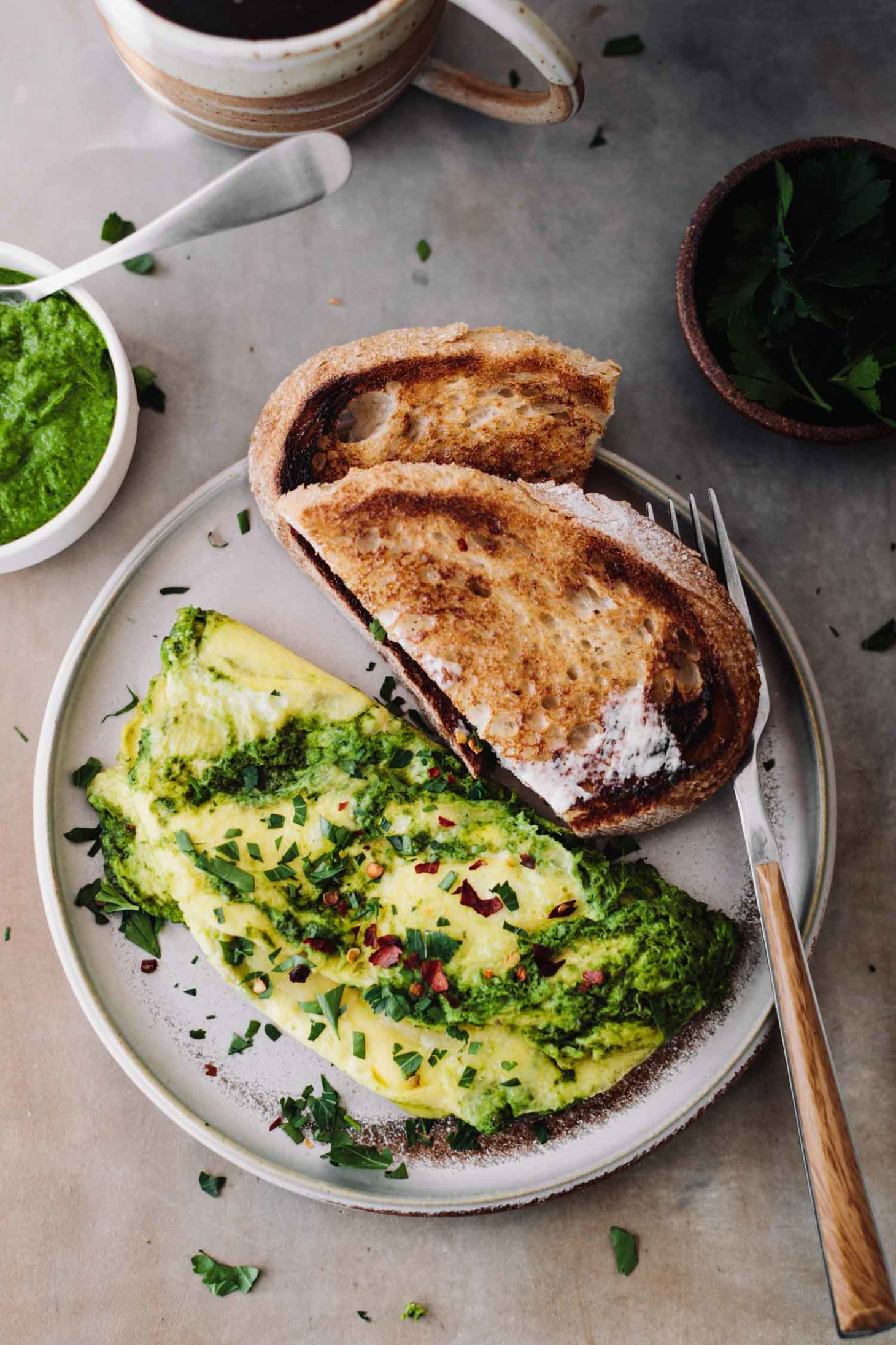 Herby Kale Omelette with Manchego Cheese