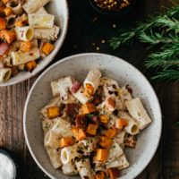 Sweet Potato Pasta with Vegan Walnut Cream Sauce