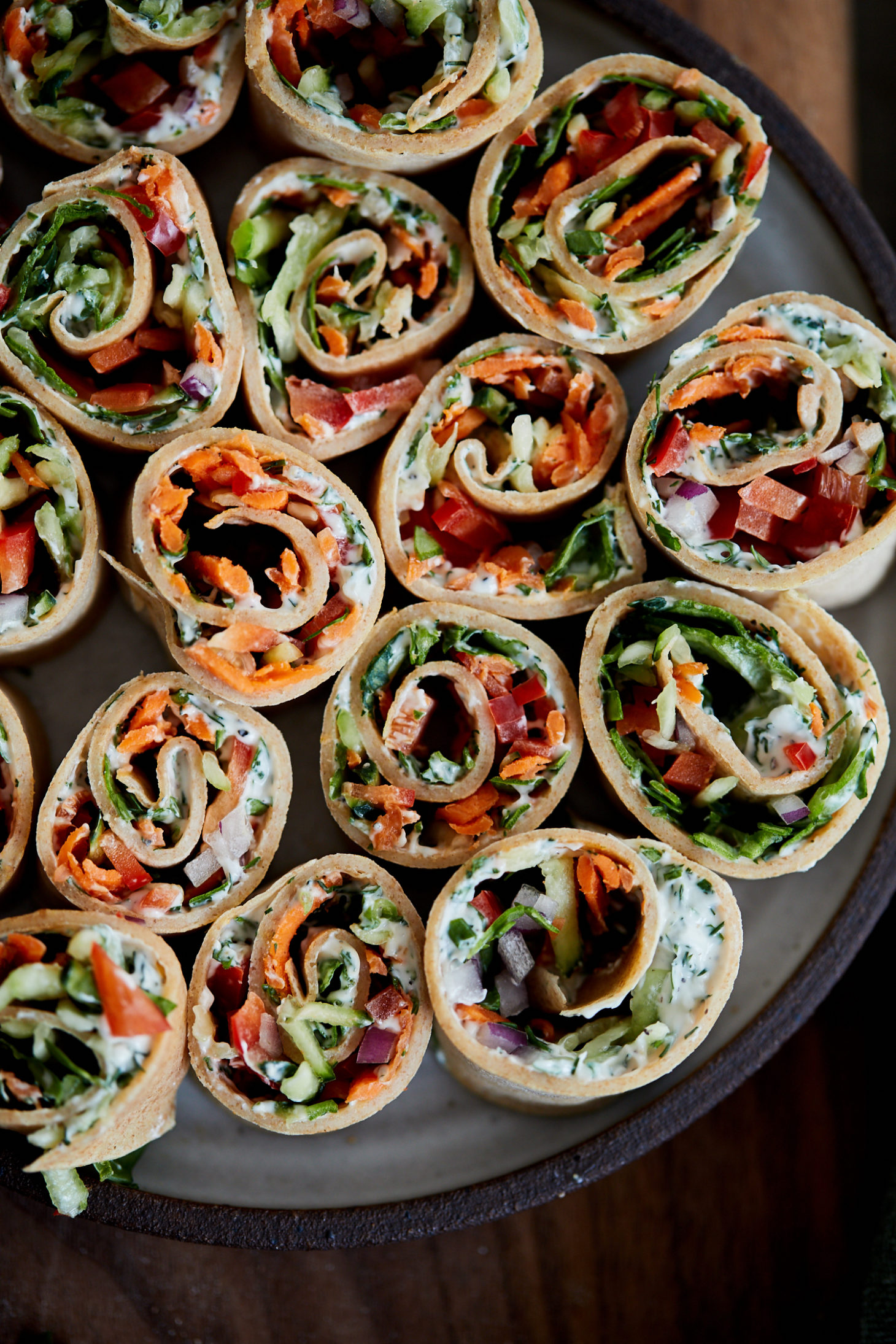 Cream Cheese Roll-ups with Crepes and Vegetables