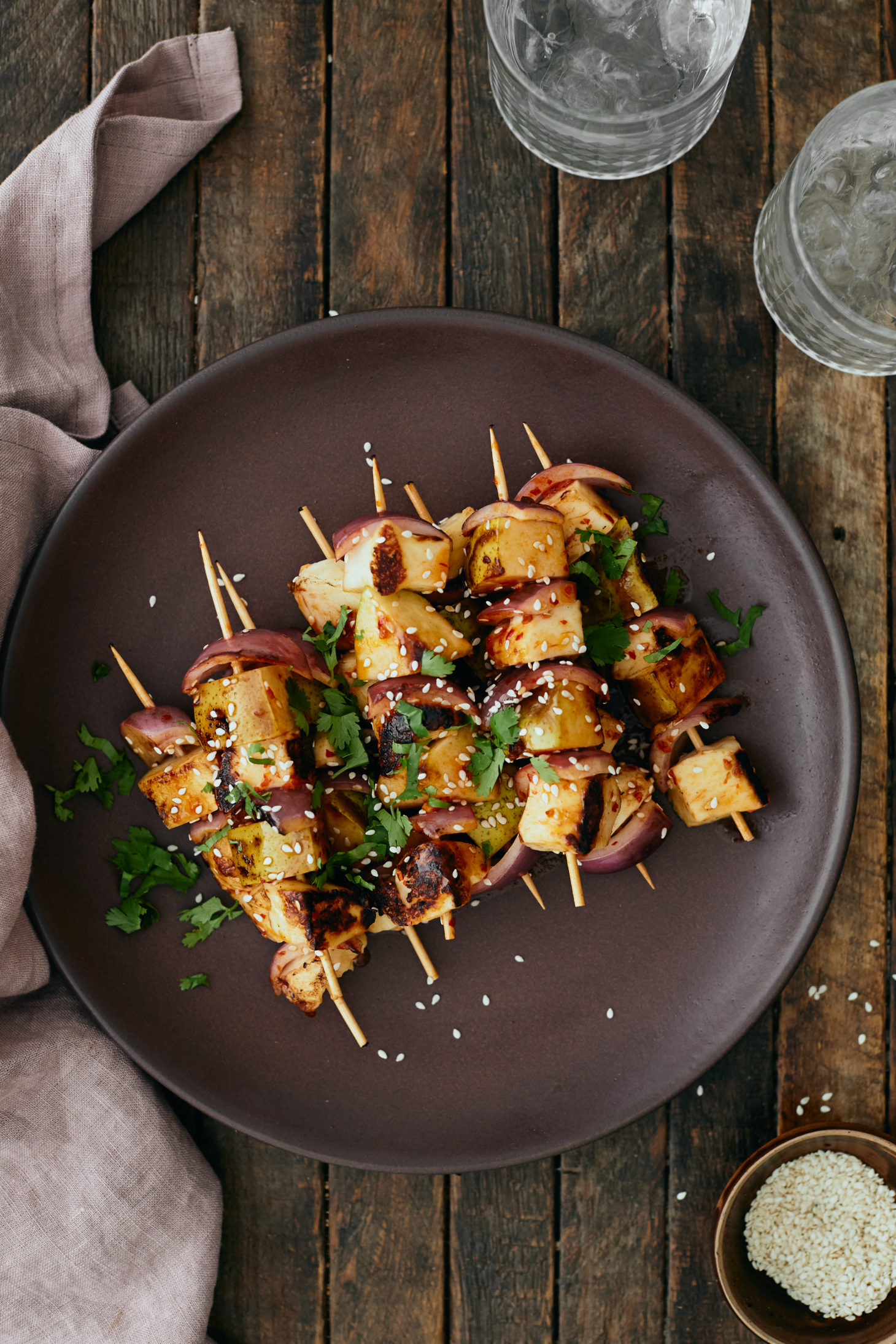 Grilled Pear and Halloumi Skewers with Chili Sauce