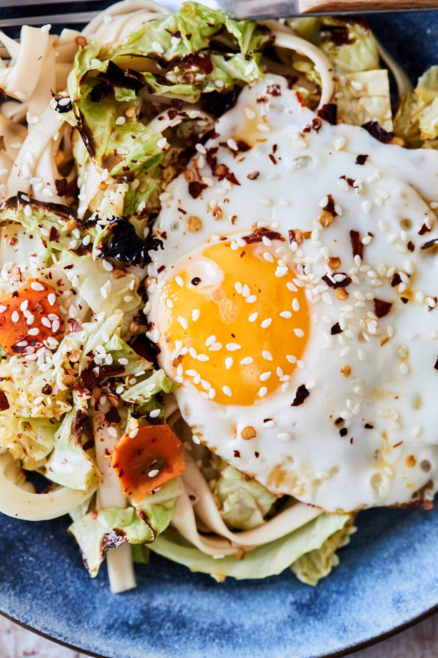 Cabbage Noodle Bowls with Fried Eggs