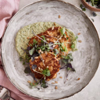 Cauliflower Fritters with Herb-Sunflower Spread