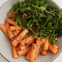 Miso Carrot Pasta with Arugula