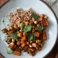 Berbere Sweet Potato Farro Bowls