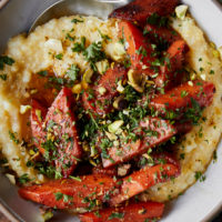Berbere Butter Braised Carrots with Polenta