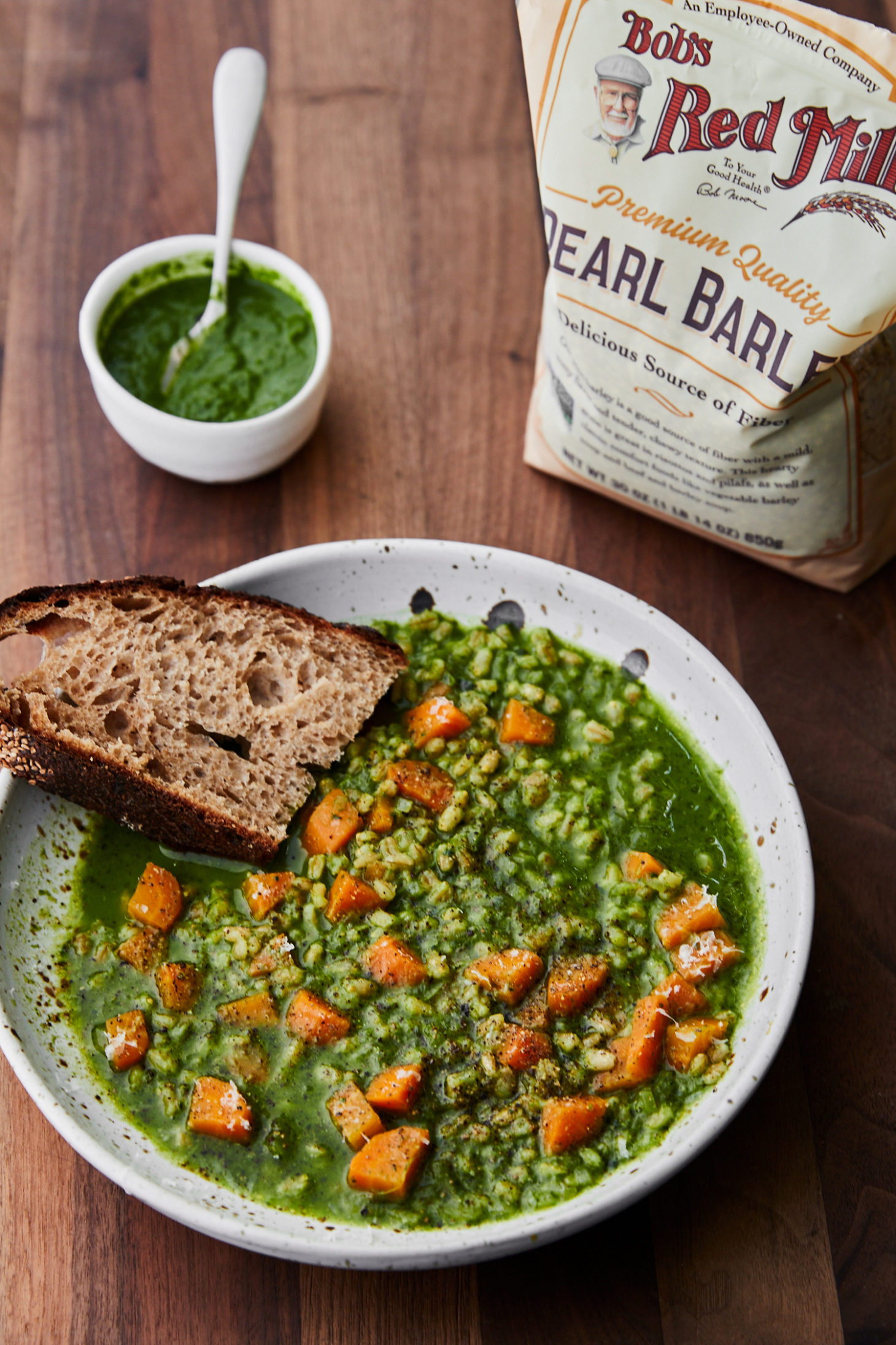 Carrot Barley Stew with Kale Sauce